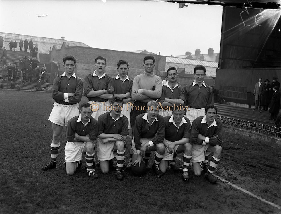 29/03/1958<br /> 03/29/1958<br /> 29 March 1958<br /> F.A.I. Cup Semi-Final: Shamrock Rovers v St. Patricks Athletic at Dalymount Park, Dublin. The St Patrick's Athletic team.