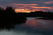 Mussleshell River, sunset, east of Roundup, Montana