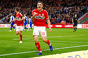 Middlesbrough forward Jordan Hugill (11) on loan from West Ham United, scores a goal and celebrates to make the score 1-0  during the EFL Sky Bet Championship match between Middlesbrough and Wigan Athletic at the Riverside Stadium, Middlesbrough, England on 10 November 2018.