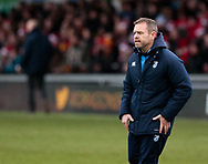 Cardiff Blues' Head Coach Danny Wilson during the pre match warm up<br /> <br /> Photographer Simon King/Replay Images<br /> <br /> Guinness Pro14 Round 11 - Dragons v Cardiff Blues - Tuesday 26th December 2017 - Rodney Parade - Newport<br /> <br /> World Copyright © 2017 Replay Images. All rights reserved. info@replayimages.co.uk - www.replayimages.co.uk