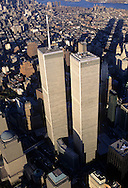 Looking Down, Aerial View, Manhattan, New York City, New York, USA,Twin Towers, World Trade Center, designed by Minoru Yamasaki, International Style II, Photographed 2000