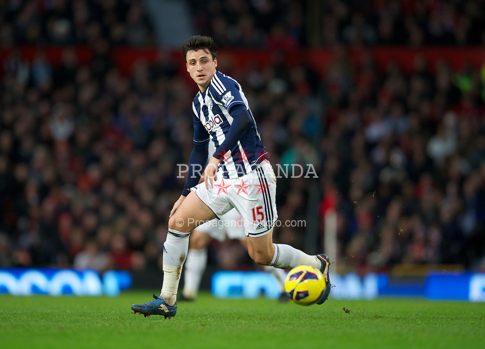 MANCHESTER, ENGLAND - Saturday, December 29, 2012: West Bromwich Albion's George Thorne in action against Manchester United during the Premiership match at Old Trafford. (Pic by David Rawcliffe/Propaganda)