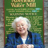 Money Mail Feature.... Aberfeldy Water Mill...14.5.2003.<br />Kathleen Rodger outside her Aberfeldy Water Mill.<br /><br />Picture by John Lindsay .<br />COPYRIGHT: Perthshire Picture Agency.<br />Tel. 01738 623350 / 07775 852112.