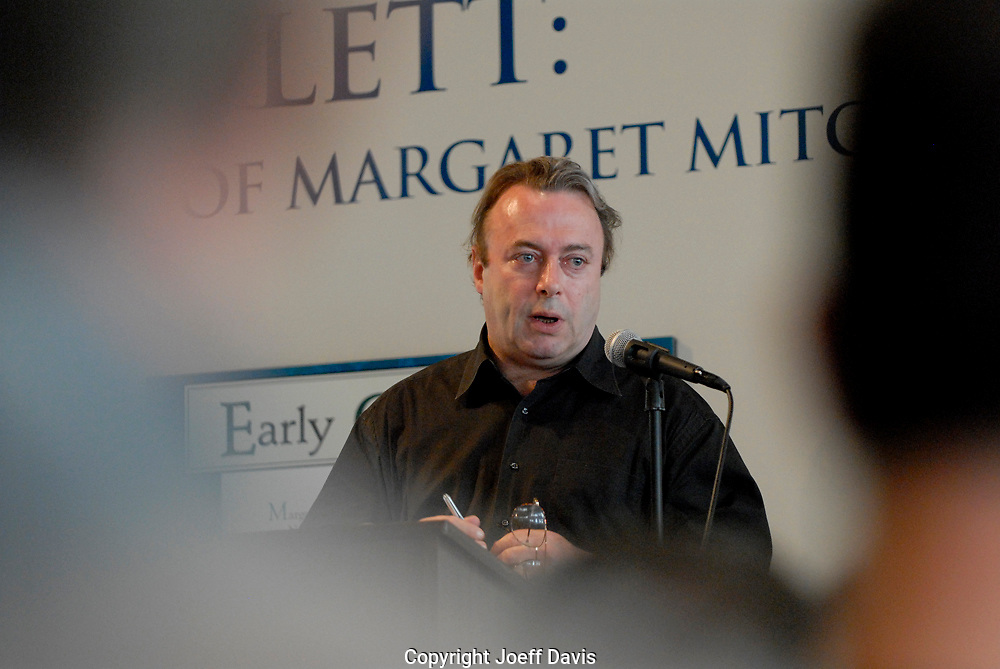 "ATLANTA, GA - May 16, 2007: Author Christopher Hitchens visited the Margaret Mitchell House to promote his book ""God is Not Great: How Religion Poisons Everything.""  He debated Emory Christian ethics Professor Timothy Jackson about the existence of God and the worthiness of religion in two sold out events at the Margaret Mitchell House, in Atlanta, Georgia."