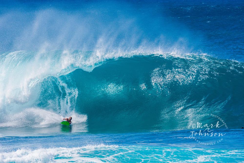 Bodyboarding at Banzai Pipeline, North Shore, Oahu, Hawaii