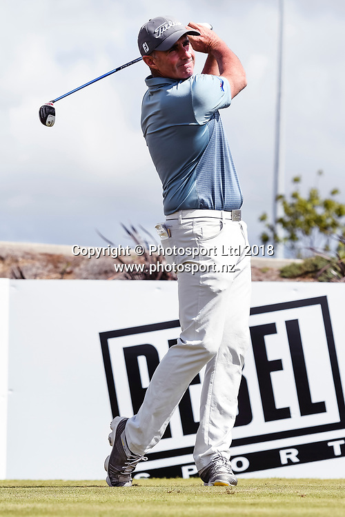 Matthew Millar (ACT) tees off on the 1st hole.<br /> NZ Rebel Sports Masters, Wainui Golf Club, Wainui, Auckland, New Zealand. 14 January 2018. &copy; Copyright Image: Marc Shannon / www.photosport.nz.