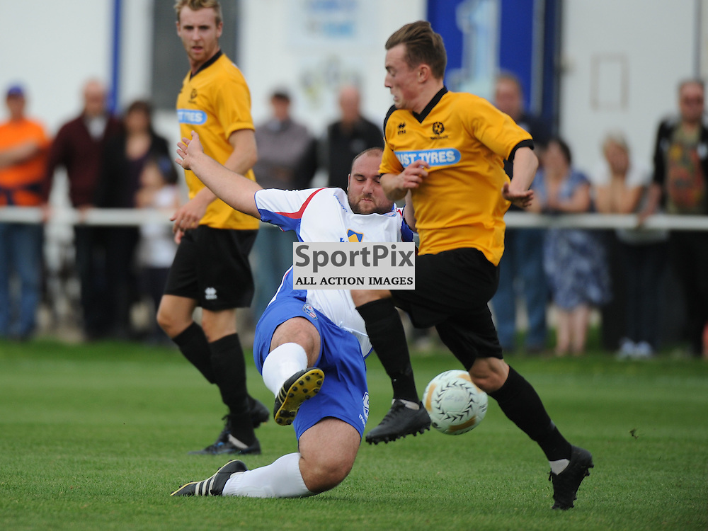Rushdens Liam Dolman, Stops Bedfords Attack, AFC Rushden & Diamonds v Bedford Town, FA Challenge  Cup, Premliminary, 30th August 2014