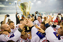 Players of Jesenice celebrate after winning Slovenian championship during ice hockey match between HK SZ Olimpija and HDD SIJ Acroni Jesenice in Final of Slovenian League 2017/18, on April 14, 2018 in Hala Tivoli, Ljubljana, Slovenia. Photo by Ziga Zupan / Sportida
