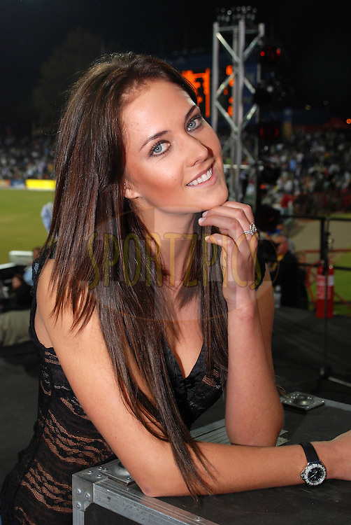 CENTURION, SOUTH AFRICA - 30 April 2009. Elbe van der Merwe winner of the Miss IPL Bollywood competition  during the  IPL Season 2 match between the Rajasthan Royals and the Chennai Superkings held at  in Centurion, South Africa..