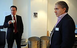 Leader of the Conservative Party David Cameron with Stefhan Shakespeare CEO and Co-Founder of You Gov before cameron delivers a speech on Post Bureacratic Age at the Village Underground, London, Monday February 22, 2010. Photo By Andrew Parsons / i-Images..Free for editorial and/or personal use only. No sales, no commercial use.