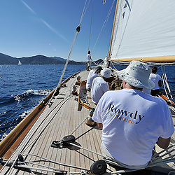 "September 2011 Regates Royales Cannes Onboard Rowdy the NY40 Class boat..Class: New York 40.Designer(s): Nathanael Greene Herreshoff.Type of Boat: NY40 Bermudan Cutter.Year Built: 1916.LOA m / ft: 19.8m   /   65'.LOD m / ft: 17.98m   /   59'.LWL m / ft: 12.2m   /   40'.Beam m / ft: 4.35m   /   14'3"".Draft m / ft: 2.4m   /   8'.Sail Stats: Sail No: NY49"