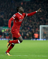 Liverpool's Sadio Mane celebrates scoring his side's third goal of the game during the Premier League match at Anfield, Liverpool.