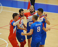 Players of Serbia celebrate during friendly volleyball match between National teams of Serbia and Slovenia, on August 18, 2017, in Belgrade, Serbia. Photo by Nebojsa Parausic / MN press / Sportida