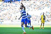 Reading midfielder Hal Robson-Kanu scores a penalty to make it 1-1 during the Sky Bet Championship match between Reading and Fulham at the Madejski Stadium, Reading, England on 5 March 2016. Photo by Adam Rivers.