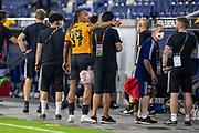 Adama Traore (#37, Wolverhampton Wanderers FC) mit Verletzung am Bein ice bag gestures during the Europa League quarter-final match between Wolverhampton Wanderers and Sevilla at Schauinsland-Reisen MSV-Arena, Duisburg, Germany on 11 August 2020.