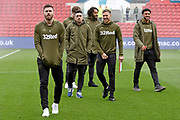 Leeds United players inspect the pitch during the EFL Sky Bet Championship match between Bristol City and Leeds United at Ashton Gate, Bristol, England on 9 March 2019.