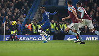 Football - 2019 / 2020 Premier League - Chelsea vs. Aston Villa<br /> <br /> Tammy Abraham (Chelsea FC) beats the offside and attemots the shot from a wide angle at Stamford Bridge <br /> <br /> COLORSPORT/DANIEL BEARHAM