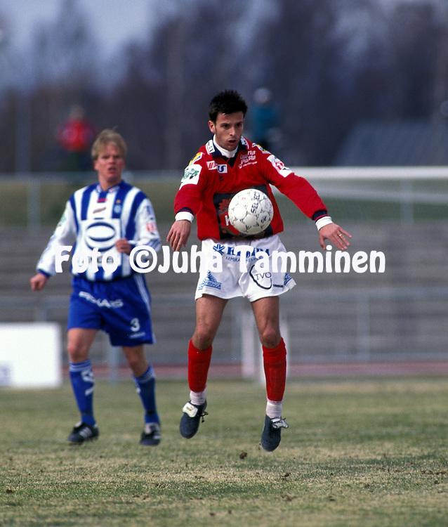 04.05.1997, Pori, Finland..Veikkausliiga  / Finnish League..FC Jazz Pori v HJK..Marco Pogioli - FC Jazz.©Juha Tamminen