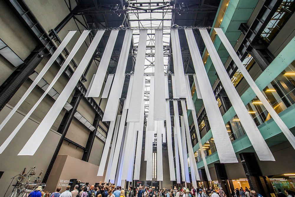 The Turbine Festival 2015 - One City One Day - sponsored by Hyundai. The festival includes many activities for all ages exploring art and technology. The hall is decorated with giant white streamers.