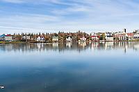 Cold and bright day at Tjornin, Reykajvik