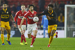 January 26, 2019 - Middlesbrough, North Yorkshire, United Kingdom - Middlesbrough's George Friend and Newport's Antoine Semenyo pictured in action during the FA Cup match between Middlesbrough and Newport County at the Riverside Stadium, Middlesbrough on Saturday 26th January 2019. (Credit Image: © Mi News/NurPhoto via ZUMA Press)