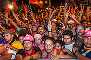 "10 JANUARY 2007 - MANAGUA, NICARAGUA:  People cheer for Daniel Ortega, newly inaugurated President of Nicaragua, at his inauguration. Ortega, the leader of the Sandanista Front, was sworn in as the President of Nicaragua Wednesday. Ortega and the Sandanistas ruled Nicaragua from their victory of ""Tacho"" Somoza in 1979 until their defeat by Violetta Chamorro in the 1990 election.  Photo by Jack Kurtz"