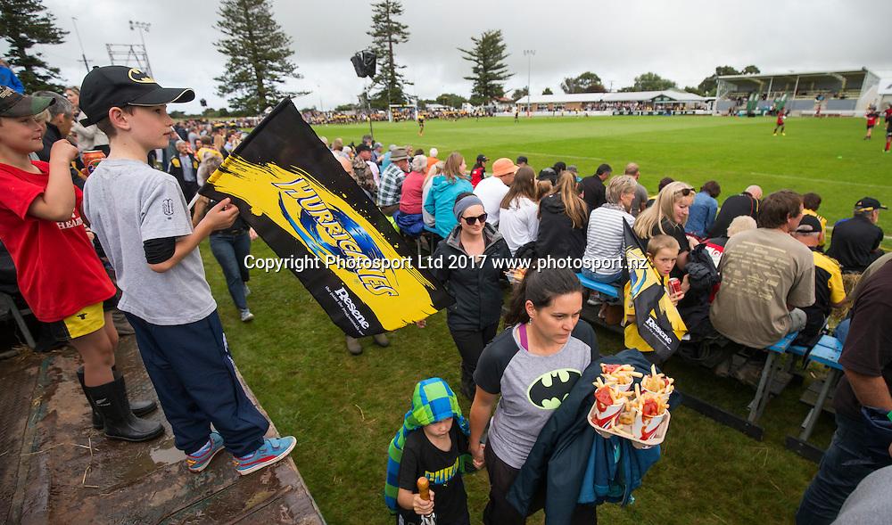 Fans, Hurricanes v Crusaders, Super rugby preseason match, Farmlands Grass Roots Rugby, Border Rugby Club, Waverley, New Zealand. Friday,  17 February, 2017. Copyright photo: John Cowpland / www.photosport.nz