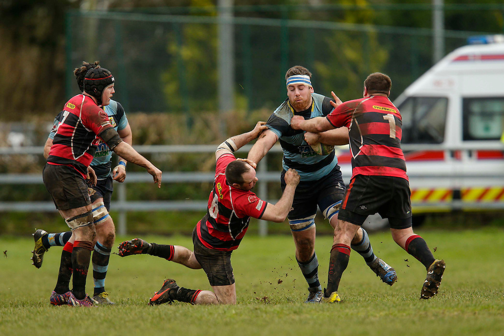 AIL Division 2c Rugby at Old Balreask, Navan 20th February 2016.<br /> Navan RC vs Tullamore RC<br /> Leigh Jackson (Navan RC) and Kevin Browne / Darragh Lowry (Tullamore RC)<br /> Photo: David Mullen /www.cyberimages.net / 2016