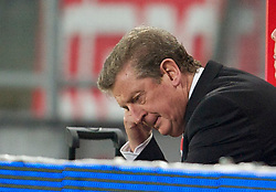 UTRECHT, THE NETHERLANDS - Thursday, September 30, 2010: Liverpool's manager Roy Hodgson looks dejected as his side stumble towards a goal-less draw against FC Utrecht during the UEFA Europa League Group K match at the Stadion Galgenwaard. (Photo by David Rawcliffe/Propaganda)
