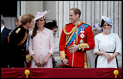Prince Harry with the Duchess of Cambridge and Prince William and Princesses Eugenie as they watch the fly past  on the Balcony of Buckingham Palace during Trooping The Colour, London, United Kingdom,<br /> Saturday, 15th June 2013<br /> Picture by Andrew Parsons / i-Images