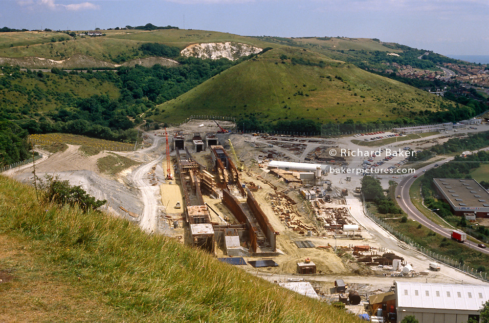 The new Channel Tunnel rail terminal under construction in the Kent countryside at Folkestone in 1989.