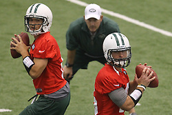 June 12, 2012; Florham Park, NJ, USA; New York Jets quarterback Mark Sanchez (6) and New York Jets quarterback Tim Tebow (15) during New York Jets Minicamp at the Atlantic Health Training Center.