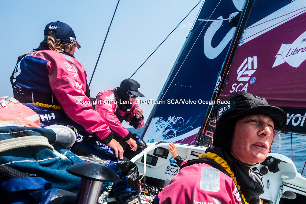 February 9, 2015. Leg 4 to Auckland onboard Team SCA. Day 1. 30 degrees heel upwind and bad sea state creates an uncomfortable life onboard.