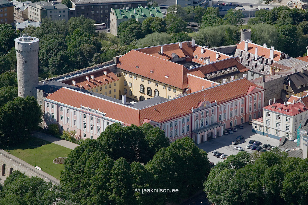 Aerial View of Toompea Castle and Pikk Hermann Tower in Tallinn, Estonia