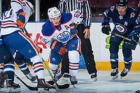 PENTICTON, CANADA - SEPTEMBER 9: Chad Butcher #65 of Edmonton Oilers skates against the Winnipeg Jets on September 9, 2017 at the South Okanagan Event Centre in Penticton, British Columbia, Canada.  (Photo by Marissa Baecker/Shoot the Breeze)  *** Local Caption ***