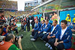 Comissão Técnica e Banco de reservas na partida entre Brasil x Croácia, na abertura da Copa do Mundo 2014, no Estádio Arena Corinthians, em São Paulo. FOTO: Jefferson Bernardes/ Agência Preview