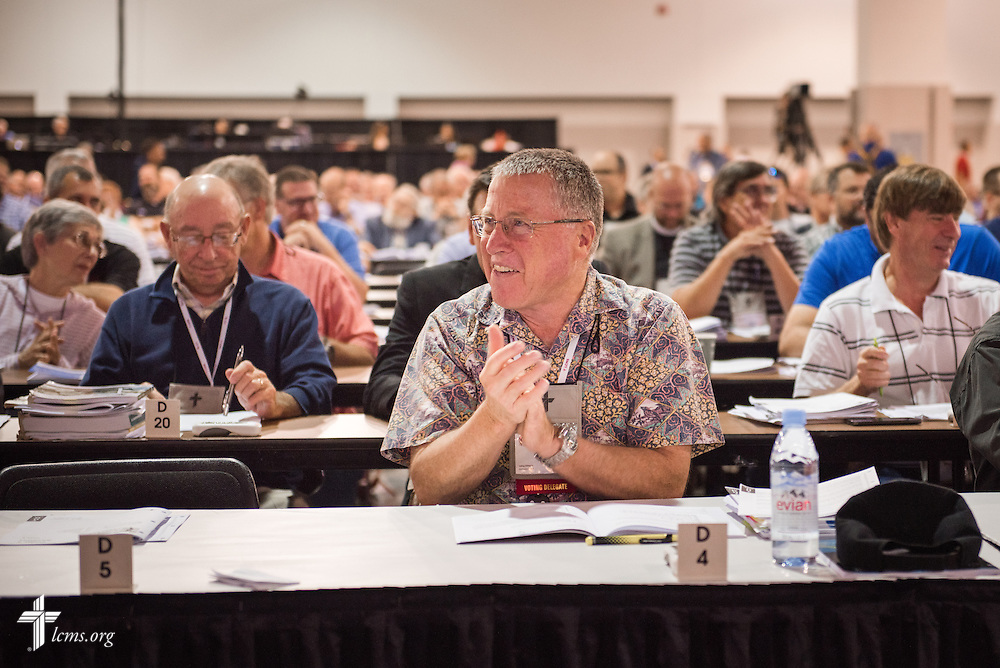 A voting delegate reacts Thursday, July 14, 2016, at the 66th Regular Convention of The Lutheran Church–Missouri Synod, in Milwaukee. LCMS/Frank Kohn