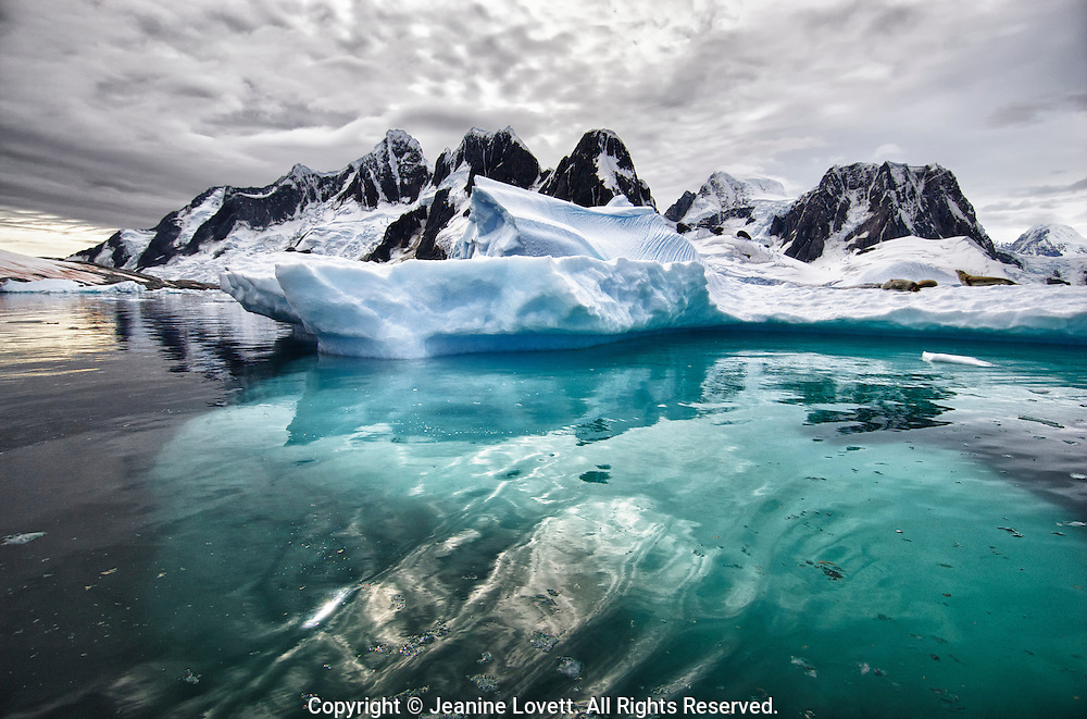 Wide angle view showing jagged landscape of Antarctic Peninsula with crabeater seals on an iceberg. You can see part of the iceberg underwater.