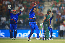 September 20, 2018 - Abu Dhabi, United Arab Emirates - Afghanistan cricketer Rashid Khan appeals during the 6th cricket match of Asia Cup 2018 between Bangladesh and Afghanistan at the Sheikh Zayed Stadium,Abu Dhabi, United Arab Emirates on September 20, 2018. (Credit Image: © Tharaka Basnayaka/NurPhoto/ZUMA Press)