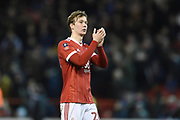 Nottingham Forest midfielder Kieran Dowell (20) applauds the Forest supporters during the The FA Cup 3rd round match between Nottingham Forest and Arsenal at the City Ground, Nottingham, England on 7 January 2018. Photo by Jon Hobley.