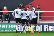 Goal - Tom Lawrence (10) of Derby County celebrates scoring a goal to give a 0-1 lead to the away team  during the EFL Sky Bet Championship match between Bristol City and Derby County at Ashton Gate, Bristol, England on 27 April 2019.