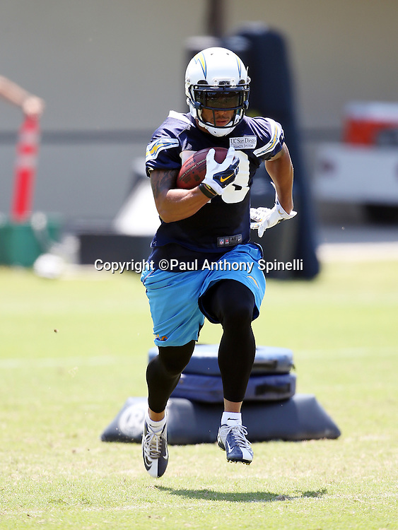 San Diego Chargers rookie cornerback Craig Mager (29) runs with the ball during the San Diego Chargers Spring 2015 NFL minicamp practice on Wednesday, June 17, 2015 in San Diego. (©Paul Anthony Spinelli)