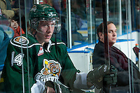 KELOWNA, CANADA - JANUARY 22: Darcy DeRoose #14 of the Everett Silvertips sits in the penalty box during third period against the Kelowna Rockets on January 22, 2014 at Prospera Place in Kelowna, British Columbia, Canada.   (Photo by Marissa Baecker/Getty Images)  *** Local Caption *** Darcy DeRoose;