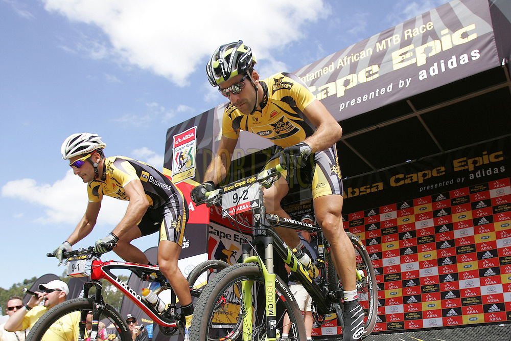 Alban Lakata and Kevin Evans of team MTN Qhubeka Topeak Ergon during the (time trial) stage five of the 2010 Absa Cape Epic Mountain Bike stage held in Worcester in the Western Cape, South Africa on the 25 March 2010.Photo by Ron Gaunt/SPORTZPICS