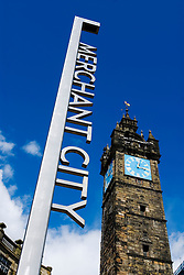 Modern steel sign at Merchant City redeveloped inner city area of Glasgow Scotland