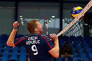Katowice, Poland - 2017 September 03: Partner Jiri Hlavnicka from SO Czech Republic looks at the ball on the net while Third Place match between SO Azerbaijan and SO Czech Republic during European Unified Volleyball Tournament 2017 at Spodek Hall on September 03, 2017 in Katowice, Poland.<br /> <br /> Adam Nurkiewicz declares that he has no rights to the image of people at the photographs of his authorship.<br /> <br /> Picture also available in RAW (NEF) or TIFF format on special request.<br /> <br /> Any editorial, commercial or promotional use requires written permission from the author of image.<br /> <br /> Image can be used in the press when the method of use and the signature does not hurt people on the picture.<br /> <br /> Mandatory credit:<br /> Photo by &copy; Adam Nurkiewicz / Mediasport
