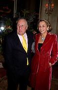 Mr. and Mrs. Frederick Forsyth. The Tatler Travel Awards, Ritz. 9 January 2003.  © Copyright Photograph by Dafydd Jones 66 Stockwell Park Rd. London SW9 0DA Tel 020 7733 0108 www.dafjones.com