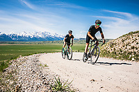Rita Jett and Jimmy Smith explore Curtis Canyon on gravel bikes, Jackson, Wyoming.
