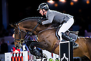 HONG KONG - FEBRUARY 21:  Ludger Beerbaum of Germany rides Chaman during the Massimo Dutti Trophy as part of the 2016 Longines Masters of Hong Kong on February 21, 2016 in Hong Kong, Hong Kong.  (Photo by Aitor Alcalde Colomer/Getty Images)
