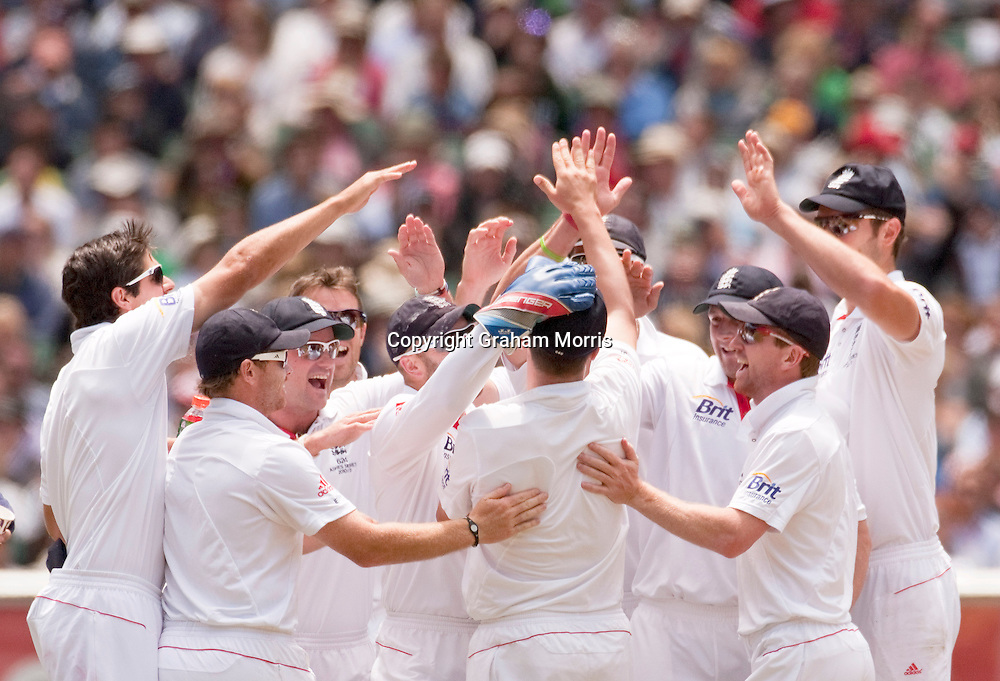 Celebrations as Phillip Hughes is run out by wicket keeper Matt Prior during the fourth Ashes test match between Australia and England at the MCG in Melbourne, Australia. Photo: Graham Morris (Tel: +44(0)20 8969 4192 Email: sales@cricketpix.com) 28/12/10